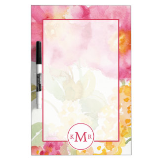 Add Your Monogram   White Daisy on Blue Dry Erase Board