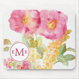 Add Your Monogram | White Daisy on Blue Mouse Pad