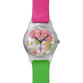 Add Your Monogram | White Daisy on Blue Watch