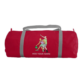 ADD YOUR NAME Basketball Duffle Gym Bag, Red Gym Duffel Bag