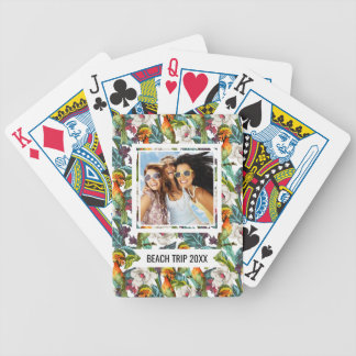 Add Your Name | Bird And Exotic Flower Pattern Bicycle Playing Cards