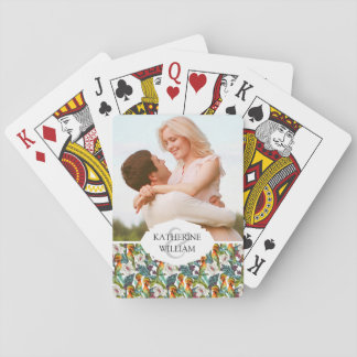 Add Your Name | Bird And Exotic Flower Pattern Playing Cards