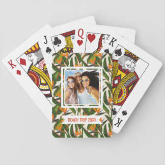 Add Your Name | Bird Of Paradise Flower Pattern Playing Cards