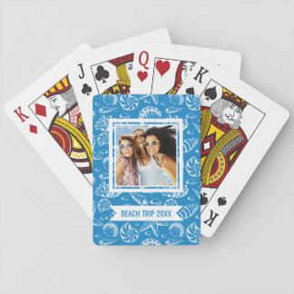 Add Your Name | Blue Beach Pattern Playing Cards