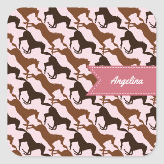Add Your Name Brown Horses on Pink Patterned Square Sticker