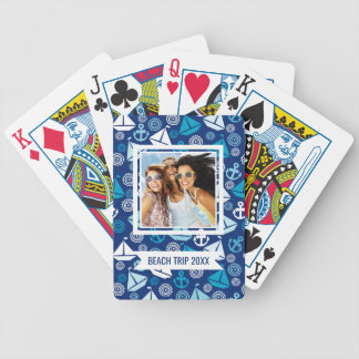 Add Your Name | Cartoon Pattern With Sailboats Bicycle Playing Cards