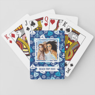 Add Your Name | Cartoon Pattern With Sailboats Playing Cards