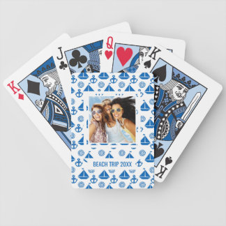 Add Your Name | Cartoon Sail Boat Pattern Bicycle Playing Cards