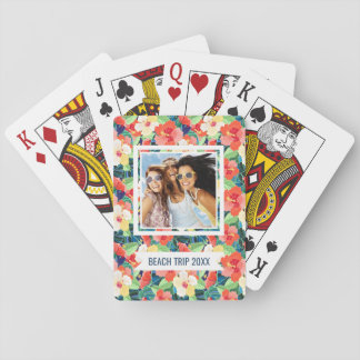 Add Your Name | Colorful Hibiscus Pattern Playing Cards