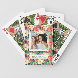 Add Your Name | Colorful Hibiscus Pattern Poker Deck