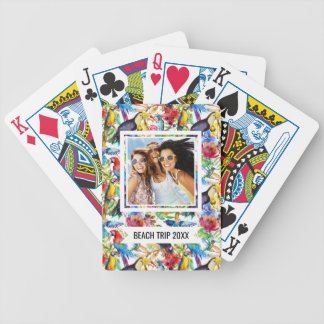 Add Your Name | Colorful Watercolor Parrots Bicycle Playing Cards