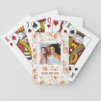 Add Your Name | Coral With Shells & Crabs Pattern Playing Cards