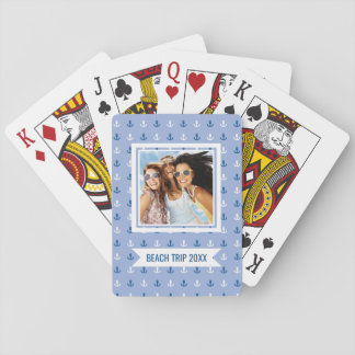 Add Your Name   Cute Little Anchor Pattern Poker Deck