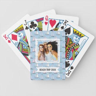 Add Your Name | Cute Sailboat Pattern | Monogram Poker Deck