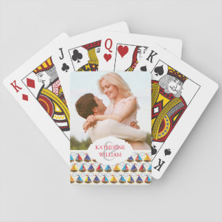 Add Your Name | Cute Sailboat Pattern Playing Cards