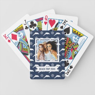 Add Your Name | Dolphins On Parade Pattern Bicycle Playing Cards