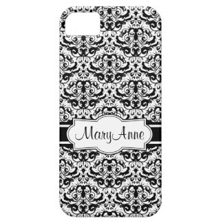 Add Your Name Elegant Black and White Damask iPhone 5 Case