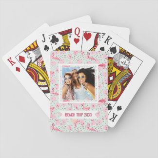 Add Your Name | Flamingo Feathers On Polka Dots Playing Cards