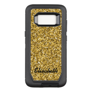 Add your name GOLD GLITTER  printed personalized OtterBox Defender Samsung Galaxy S8 Case