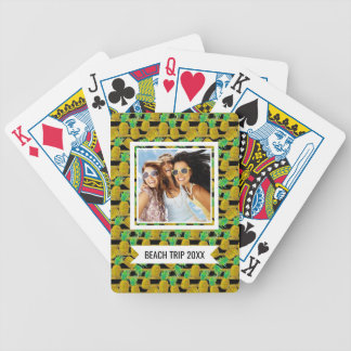 Add Your Name | Golden Pineapples On Stripes | Bicycle Playing Cards