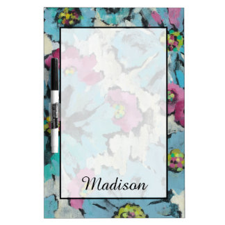 Add Your Name   Graphic Pink and Blue Floral Dry Erase Board