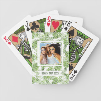 Add Your Name | Green Palm Leaves Bicycle Playing Cards