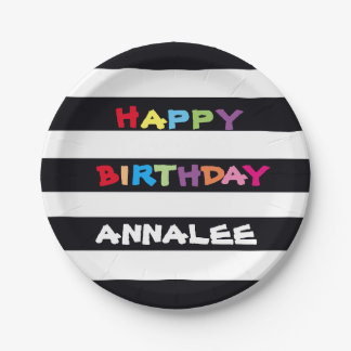 ADD YOUR NAME Happy Birthday Paper Plates 7 inch