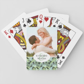 Add Your Name | Jungle Floral Pattern Playing Cards