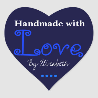 Add Your Name Made With Love Dark Blue Stickers
