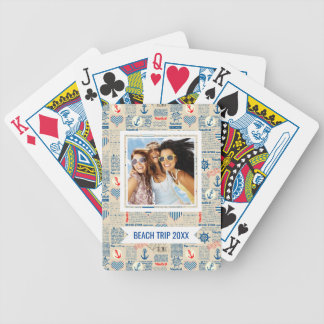 Add Your Name   Nautical Newspaper Pattern Bicycle Playing Cards