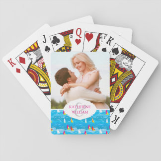 Add Your Name   Neon Yacht Pattern Playing Cards
