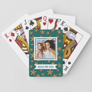 Add Your Name | Orange Starfish Pattern Playing Cards