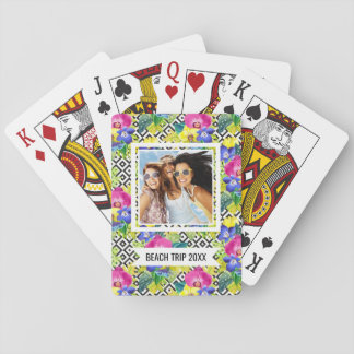 Add Your Name | Orchid Begonia And Palm Leaves Playing Cards