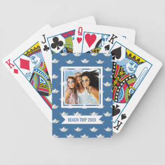 Add Your Name | Origami Boats On The Water Pattern Bicycle Playing Cards