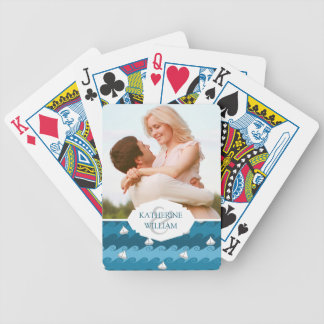 Add Your Name | Paper Boats Pattern Bicycle Playing Cards