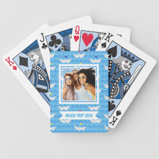Add Your Name | Paper Boats Sailing On Blue Patter Bicycle Playing Cards