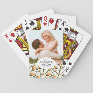 Add Your Name | Paradise Bird Flower Pattern Playing Cards