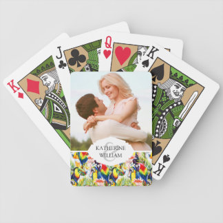 Add Your Name   Parrots And Palm Leaves Bicycle Playing Cards