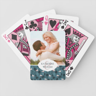 Add Your Name | Pastel Flamingos On Teal Poker Deck