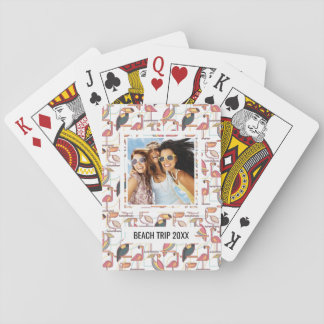 Add Your Name | Pattern With Tropical Birds Poker Deck