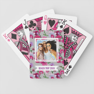 Add Your Name | Pink Orchids In Bloom Bicycle Playing Cards