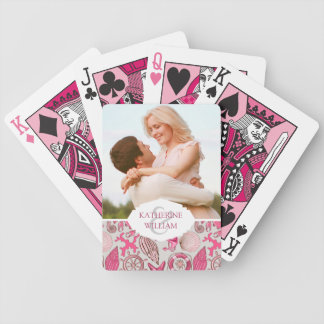 Add Your Name | Pink Sea Pattern Bicycle Playing Cards