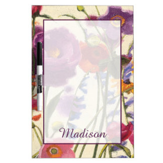 Add Your Name   Purple and Orange Poppy Melody Dry Erase Board