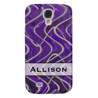 Add Your Name Purple and White Pern Samsung Galaxy S4 Cases