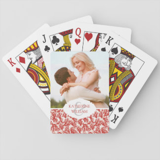Add Your Name | Red Coral Pattern Poker Deck
