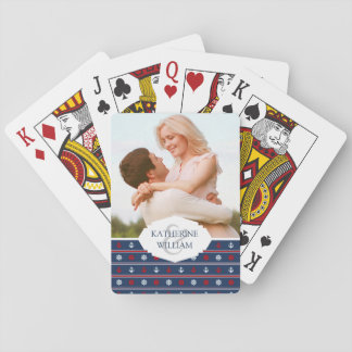 Add Your Name | Red White And Blue Nautical Patter Playing Cards