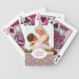 Add Your Name | Retro Flamingos Bicycle Playing Cards
