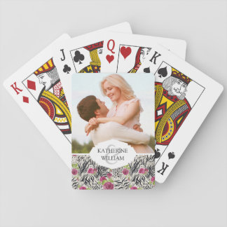 Add Your Name | Roses On Animal Pattern Playing Cards