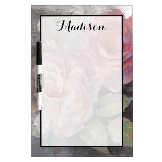 Add Your Name   Roses on Gray Dry Erase Board