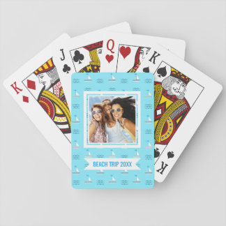 Add Your Name | Sailboats On The Blue Sea Pattern Playing Cards